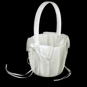 Weiß Elfenbein-Bogen-Hochzeit Blower Korb Ceremony Festliche Partei-Liebes- Fall Satin-Blumen-Mädchen-Korb für Hochzeit Party Supplies