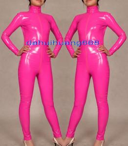 Сексуальный розовый блестящий ПВХ Костюм комбинезон костюмы унисекс блестящий розовый ПВХ костюм тела унисекс сексуальный ПВХ боди купальник костюмы с длинной застежкой-молнией DH180