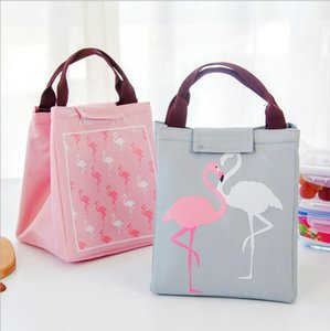 Portable Lunch Picnic Bag Cartoon Flamingo Pouch dinking foods Storage Bags Insulated Thermal case Cooler Tote bag