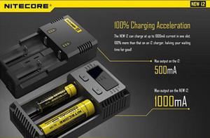 100% аутентичные Nitecore I2 зарядное устройство новая версия 1000mA 18650 18350 14500 двойной залив зарядное устройство с новыми функциями DHL бесплатно
