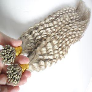 Серебристо-серый бразильские волосы вьющиеся волосы Fusion Micro Nano Loop Ring Hair 100 г 7а Micro бразильские наращивания 100 шт. Nano Rings Бусы