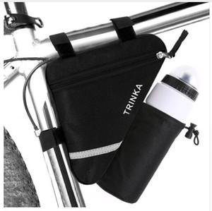 Bisiklet Çerçeve Üçgen Bisiklet Çanta Su Şişesi Pocket Yansıtıcı Çizgili Depolama Kılıfı Çanta Bisiklet MTB Yol Bisikleti Tüp Pannier