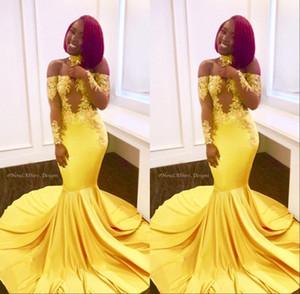 Amarillo elegante fuera del hombro de encaje de baile vestidos de noche formal mangas largas sirena apliques de satén árabe largo africano formal 2019 personalizado