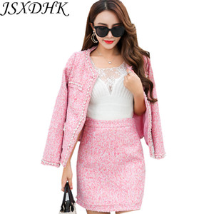 Autumn Winter Women 2 Piece Set 2018  Pink Beading Pearl Tweed Wool Blends Tassel Jacket Coat + Bodycon Pencil Skirt Suits