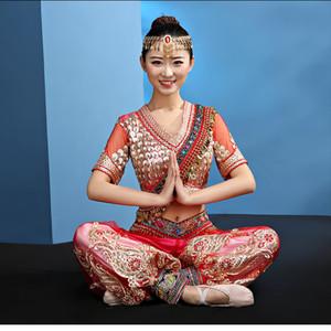 뉴 오리엔탈 댄스 의상 여성 밸리 댄스 의상 (탑 + 바지) 이집트 인도 스타일 Performance wear Belly Dance Costume Set