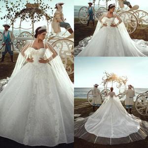 Дубай арабский полный жемчуг Милая Свадебные платья Кружева Аппликация Длинный Часовня Поезд Свадебные свадебные платья с оберткой Урожай свадебное платье