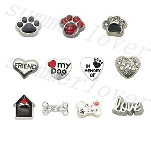 11Pcs-Pack Cute Love my dog ​​Pet Paw Bone Love Friend in memoria di Puppy Dog House charms galleggianti Per il fascino di memoria medaglione Dog Lover Gift