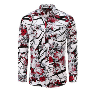 Dioufond Fashion Floral Long Sleeve chemises pour hommes Plus la taille de la fleur imprimée Camisas Casual Masculina Noir Blanc Rouge Chemise Homme