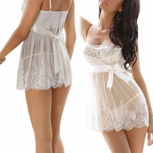 HOT New Mulheres Senhoras Lace Lingerie Pijamas Nightwear Robe Sexy Malha Camisola G Cordão Babydoll Vestido Noite chemise de nuit O1