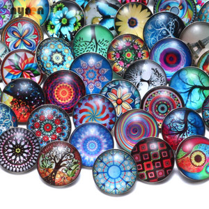 Wholesale 50pcs 18mm Glass Snap Button High Quality Mixed Styles Snap Charm Multi Color Noosa Chunk 18-20mm DIY Ginger Snap Jewelry