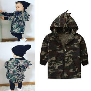Enfants Camouflage Veste À Capuche 2018 Automne Automne Forme De Dinosaure Bébé Garçons Outwear Enfants Vêtements C5257