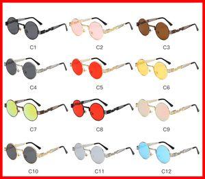 Vidano Optical Round Metal Sunglasses Steampunk Hombres Mujeres Moda Gafas Diseñador de la marca Retro Vintage Sunglasses UV400