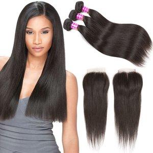 Cheap 8A Straight Bundles con chiusura capelli vergini brasiliani non trattati tesse estensioni capelli remy trame dei capelli umani con chiusure