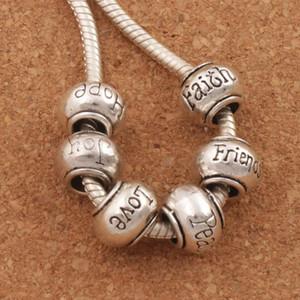 Rondelle Big Hole Perles Espoir Paix Joie Ami Amour Foi Mélanger 6 styles Tibétain Argent Fit Européenne Bracelet Bijoux L1292-1296