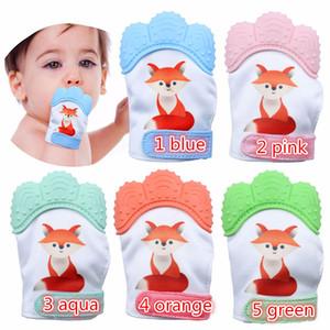 Bambino Fox Stampa Silicone Teether guanto 5colors guanti neonato Ciuccio dentizione Guanto lattante masticabili Mittens Open-dita