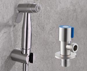 Freie Verschiffen-Edelstahl zwei Funktion WC Hand Bidet Windel Sprayer Dusche und Edelstahl Eckventil BD888