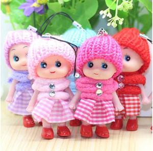 8 CM Crianças Brinquedos Macio Interativo Baby Dolls Toy Corrente Chave, Mini Boneca Chaveiro Para As Meninas Anel Chave Chave Titular Telefone Móvel Correias MOQ 200 pcs