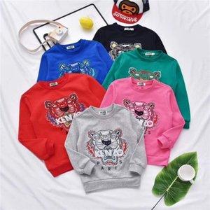 Вышитые тигр головы дизайн толстовка Детская одежда с длинным рукавом футболки 3-8Т Детская одежда