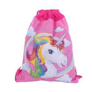 Licorne sac de cordon de bande dessinée avec impression de licorne Sacs de voyage Sacs à dos enfants non tissés C3795