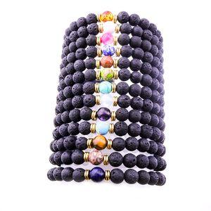 Mode 8mm Natürliche Schwarze Lava Stein Perlen Armband DIY vulkan Rock Ätherisches Öl Diffusor Armband für frauen männer