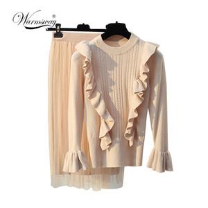 WARMSWAY Conjuntos para mujer de gamuza negra Conjuntos de dos piezas Suéter de malla Cintura alta Falda Conjuntos de manga larga para mujeres ocasionales C-068