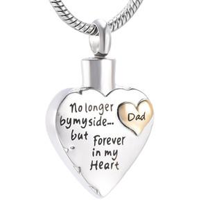 IJD9980-1 Dad Herz Urnen Halskette für Asche-Andenken Schmuck Feuerbestattung Schmuck Dad In My Heart Memorial Anhänger Asche Urn Halskette