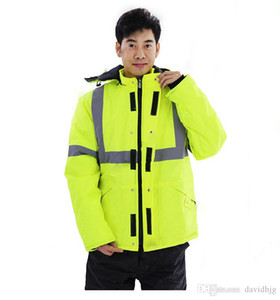 Winter Reflective Safety Jacket Road Traffic Waterproof Windproof Warm Coat Worker Repairman Outdoor Working Protective Clothing