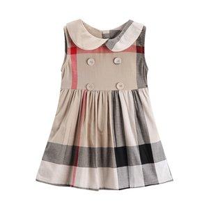 filles coton robe 2018 NOUVELLE arrivée été filles collier de poupée sans manches une jupe de coton de haute qualité bébé enfants grande robe à carreaux
