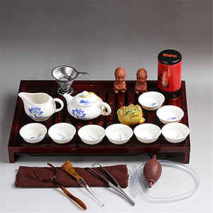 الصينية بيربل كلاي الكونغ فو مجموعة الشاي DRINKWARE تشمل السيراميك كأس ابريق الشاي المساعد على التحلل سلطانية الخشب الطبيعي علبة شاي Chahai ترويج