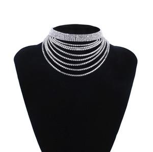 designer jewelry punk necklace chokers muiltlayer rhinestones shinnning neckalce for women hot fashion free of shipping