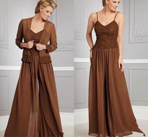 Vintage Şifon Pantolon Anne Için Gelin V Yaka Suits Spagetti Parti Akşam Düğün Anneler Için Konuk Elbise Ile Ceket
