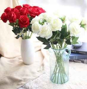 Artificial Rose Silk Craft Flowers silk rose flower For Wedding Christmas Room Decoration 8 Color Cheap Sale SF0213