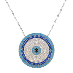 géométrique grand collier rond oeil mal haute qualité micro pave bijoux nano turquoise tendance gorgegous
