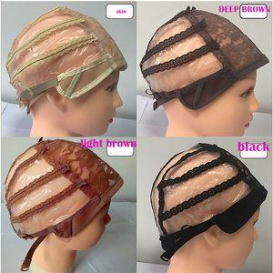 Tam Ön Dantel Peruk Peruk Yapımı İçin Caps Ayarlanabilir Sapanlar Orta Boy CAP Net Uzantıları
