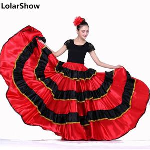 Kadınlar için İspanyol Dans Kostümleri Flamenko Dans Etek Belly DanceSkirt İspanyol Giyim Flamenko Elbise Üst ve Etek