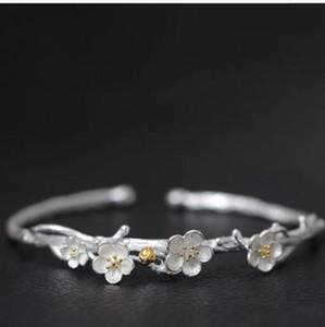 Joyería de lujo S925sterling pulseras de diseño de plata brazalete abierto ciruela blosson hecho a mano cz HOT FASHION envío gratis