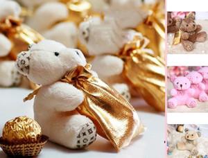 50pcs 달콤한 곰 사탕 가방 결혼식 호의 가방 파티 용품 선물 포장 선물 상자 아름다운 둥근 상자