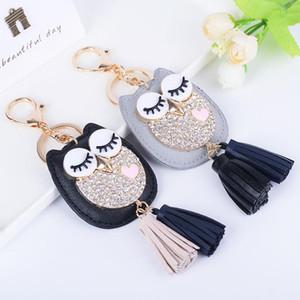 Coruja de couro chaveiro borla carro chaveiros Lady casal saco ornamentos moda criativa charme pássaro ornamentos keychain