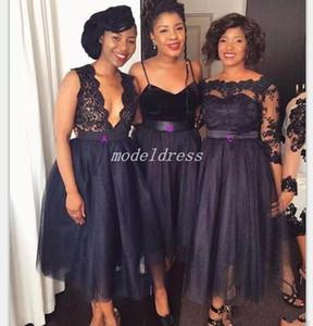 Africanos azul marino oscuro corto vestido de dama 2019 Una línea de longitud té Apliques Terciopelo del jardín del país huésped de la boda Vestidos Criada del vestido del honor