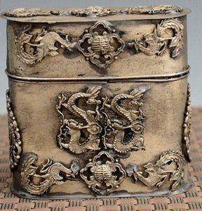 Exquisite chinesische tibetische silberne Dragon Phoenix Statue Zahnstocher Box, Zigarettenetui