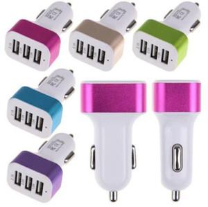 3 puertos USB Aleación de aluminio Cargador de coche de metal Cargador para vehículo Adaptador universal 5V 2.1A + 2A + 1A para iphone Samsung Smartphones