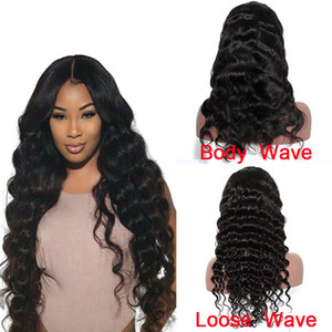 Prejuído Brazilian Human Human Hair Lace Front Wigs para Mulheres Negras Onda Corporal / Onda Solta Natural Steide Wigs Cor Natural Best Selling Itens