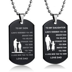 패션 육군 스테인레스 스틸 개 태그 검은 펜 던 트 목걸이 내 아들 / DAUGHTER 사랑 아빠 군사 체인 선물 어린이위한