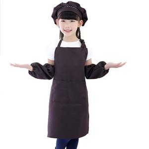 Schürze für Kinder Kind Kinder Ärmel Hut Set große Tasche Küche Backen Malerei Kochen Handwerk Kunst Bib Schürze Print Logo ETWQ001