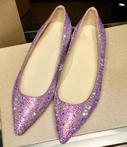 2018 New Fashion flat heel Classic Rivet Pointed Toe Pumps Best Sale Women Flats Shoes