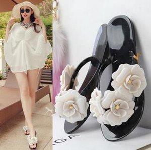 Оптовые-2018 летние женские цветочные тапочки женские шлепанцы цветы тапочки пвх сандалии Camellia Jelly Shoes пляжная обувь