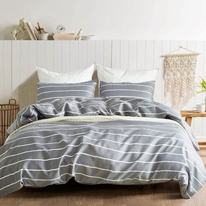 Stripe Simple Printing Bedding Set Microfiber Bed Duvet Cover Set Modern Style Home Hotel Bedclothes Simplicity Home Textile