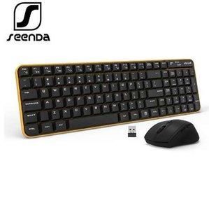 Souris clavier sans fil pleine taille 2,4 GHz SeenDa Whisper Quiet pour ordinateur de bureau PC portable Windows XP / 7/8/10