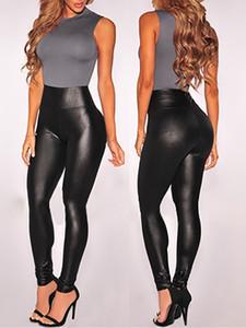 Mulheres negras Sexy Leggings de couro Slim Fit Leggings alta elasticidade Clube Estilo Botas, Calças de couro Leggings