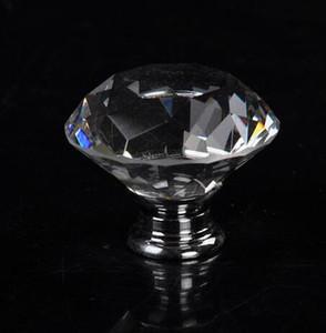 40mm Temizle Elmas Şekli Kristal Cam Çekme Kolu Dolap Dolap Çekmece Kapı Mobilya Topuzu